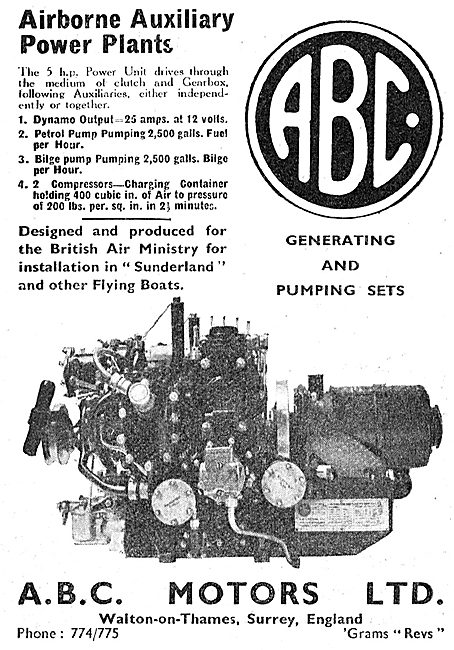 ABC APU - Airborne Auxiliary Power Plant - Generator & Pumping