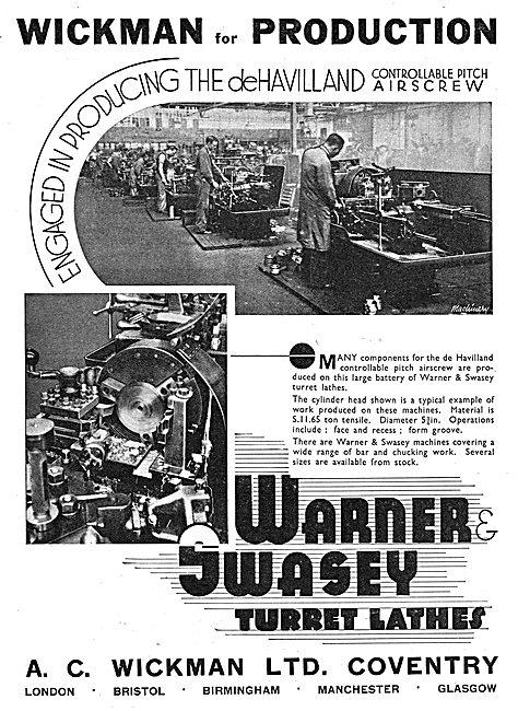 A.C. Wickman Warner Swasey Turret Lathes 1939