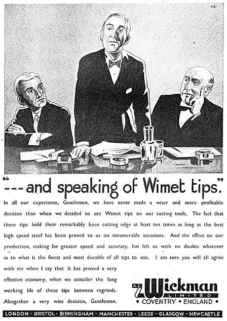 A.C. Wickman Wimet Machine Tools & Tool Tips 1943