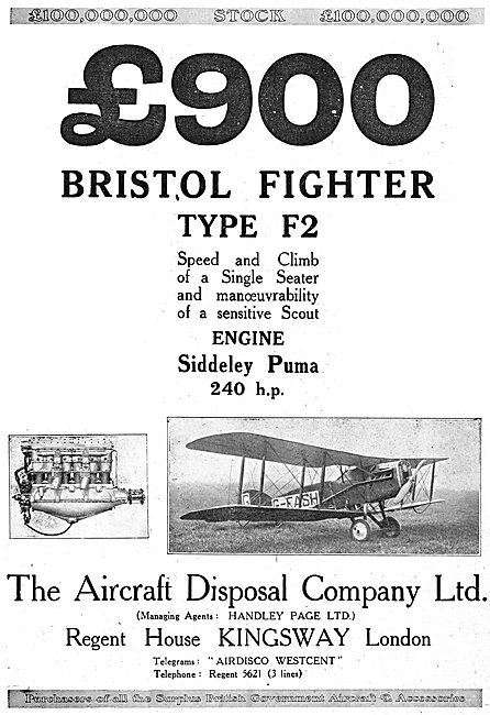 Aircraft Disposal Company Bristol Fighter F2. £900