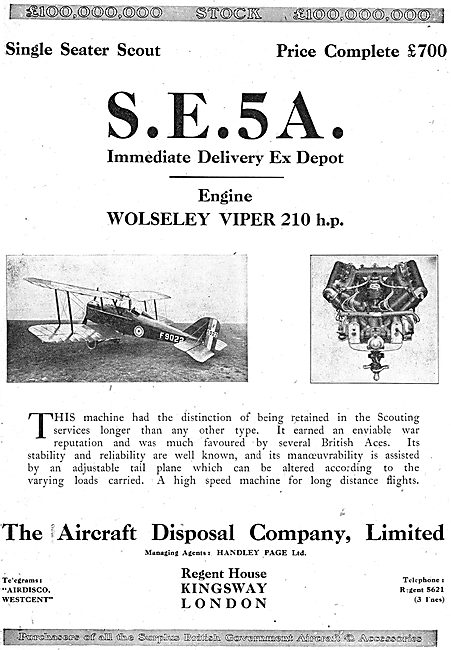 Aircraft Disposal Co Have Ex depot S.E.5A  Aircraft In Stock