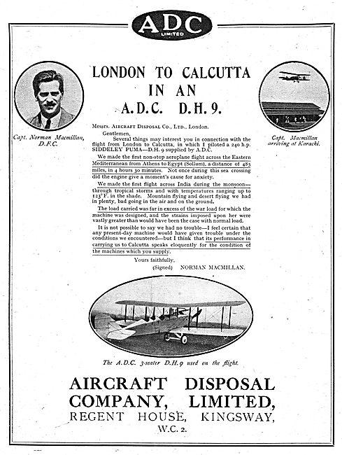 Aircraft Disposal Company  ADC DH9 - Norman Macmillan Flight