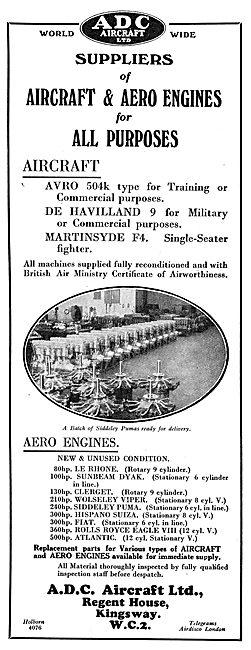 ADC Aircraft & Aero Engines. Avro 504K, DH9, Martinsyde F4