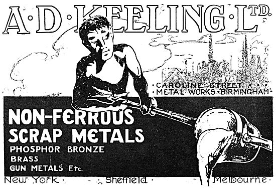 A.D.Keeling Ltd. Caroline St Metal Works. Non-Ferrous Scrap Metal