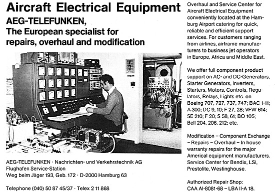 AEG-Telefunken. Hamburg Service Centre For Airport Equipment