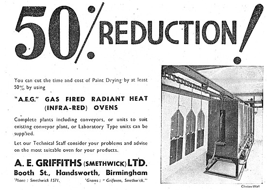 A.E.Griffiths. Factory Equipment, Infra-Red Ovens & Conveyors