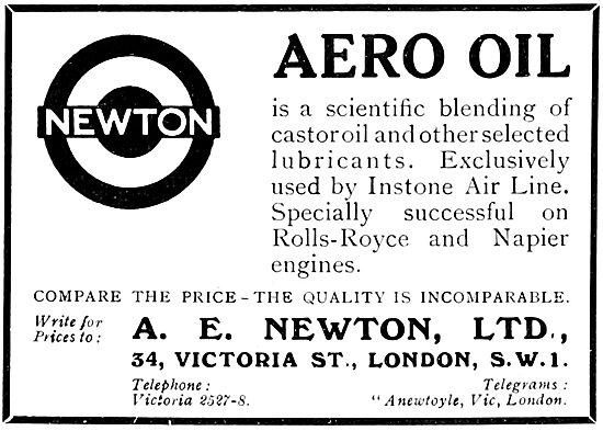 A.E.Newton. Newton Aero Oil 1922