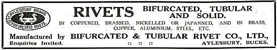 Bifurcated & Tubular Rivet Co For Aircraft Rivets