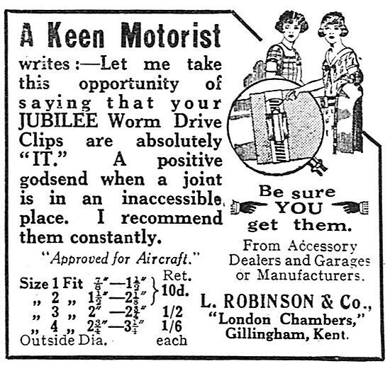L.Robinson & Co Jubilee Worm Drive Clip For Aeroplane Use