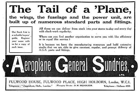 Aeroplane General Sundries Ltd - AGS Parts & Accessories