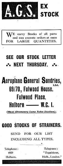 Aeroplane General Sundries Ltd  - AGS Parts
