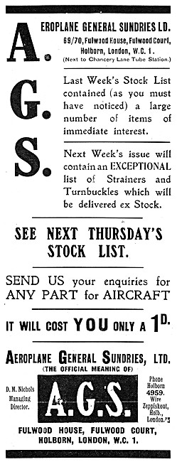Aeroplane General Sundries AGS Parts