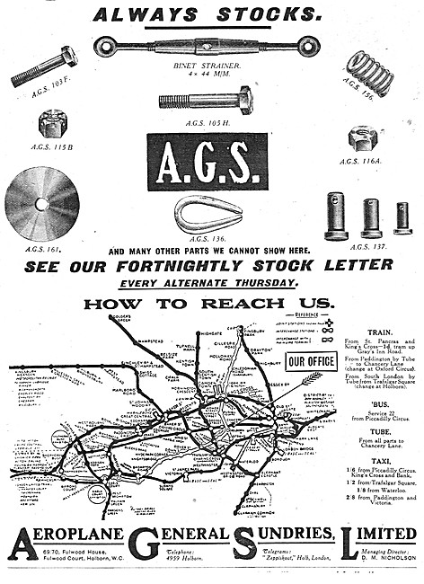 Aeroplane General Sundries AGS Parts Stockists