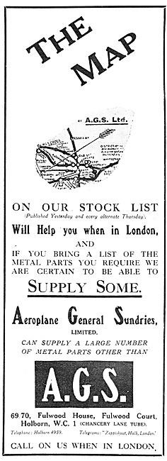 Aeroplane General Sundries. Aircraft Parts Stockists. 1917