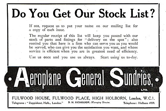 Aeroplane General Sundries Ltd - Aircraft Supplies