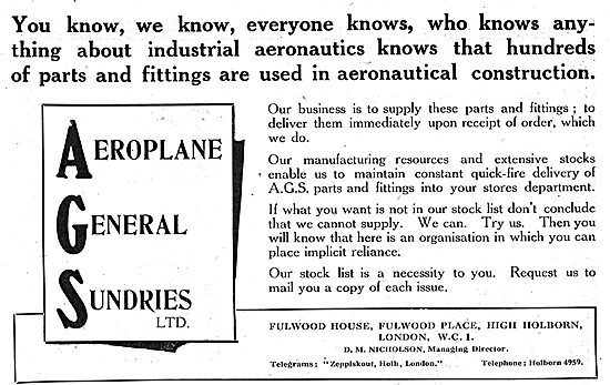 Aeroplane General Sundries Ltd - Fulwood Place Holborn