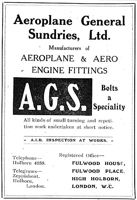 Aeroplane General Sundries Ltd - AGS Parts & Fittings