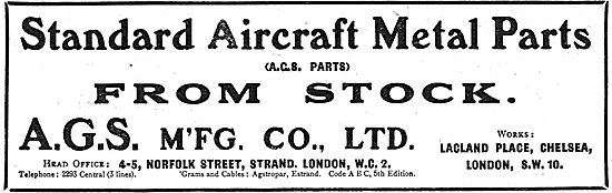 A.G.S Mfg Co Ltd - Standard Aircraft AGS Metal Parts From Stock