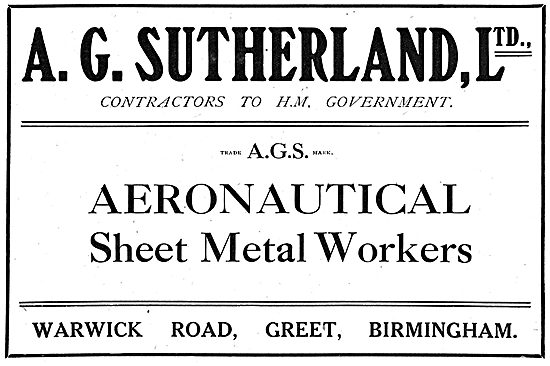A.G.Sutherland Ltd - Aeronautical Sheet Metal Workers
