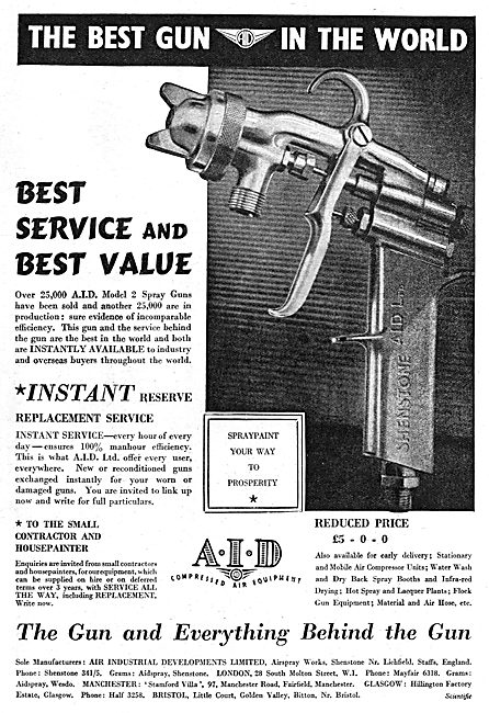 A.I.D. Compressed Air Equipment - Paint Spray Guns. 1950