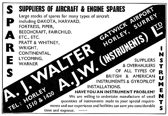 A.J.W. Instruments Large Stocks Of Spares For DC3 Harvard Etc