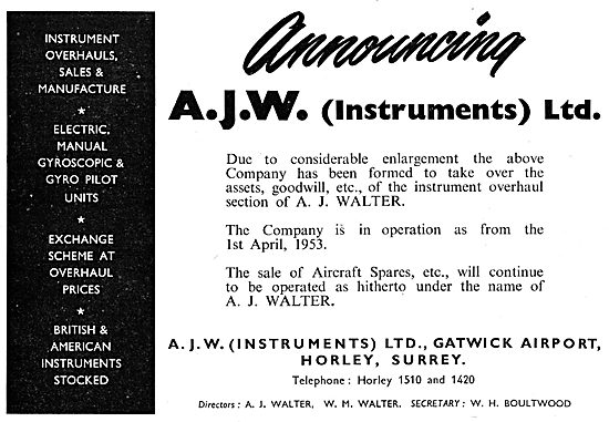 A.J.W. Instruments. Gatwick. Instrument Servicing & Repairs