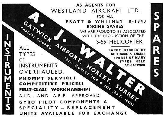 A.J.Walter. Gatwick - Agents For Westland - Spares Stockists