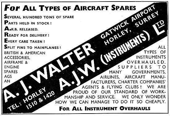 A.J.Walter Aircraft Spares Stockists - Gatwick