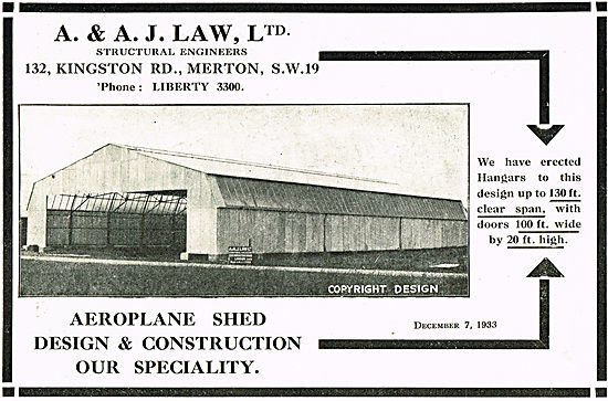 A J Law Aeroplane Shed Design And Construction