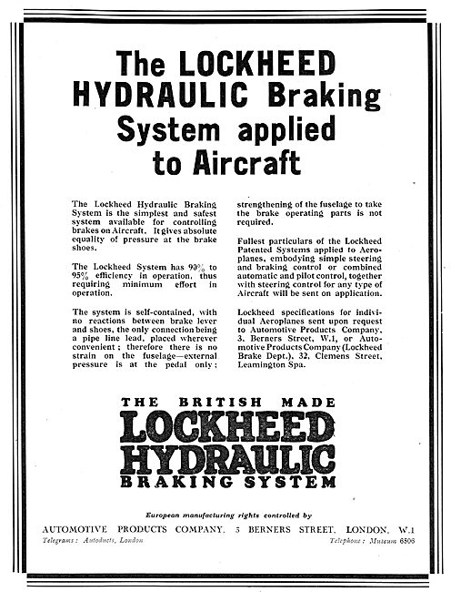 The British Made Lockheed Hydraulic Braking System For Aircraft