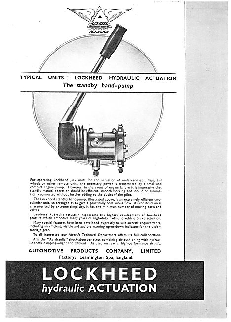 Lockheed Hydraulic Standby Hand Pumps