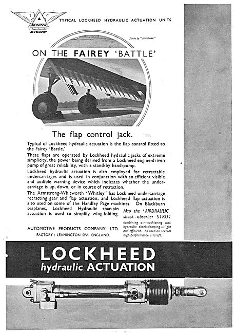 Lockheed Hydraulic Flap Actuation Units - Fairey Battle
