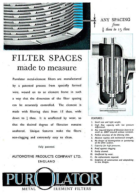 Automotive Products- Purolator Metal-Element Filters 1943