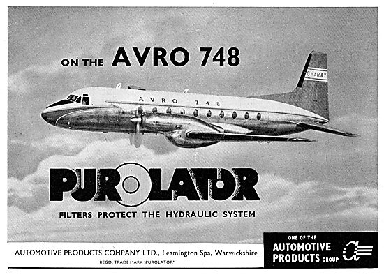 Automotive Products - Purolator Filters For The Avro 748
