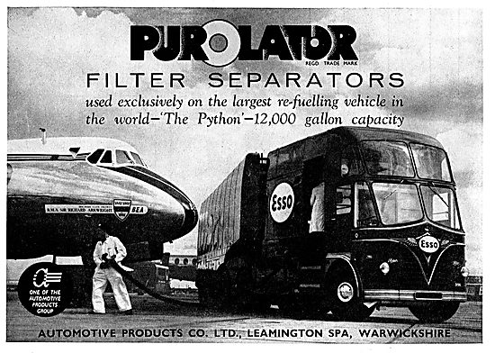 Purolator Filters For The Python Aircraft Re-Fuelling Vehicle