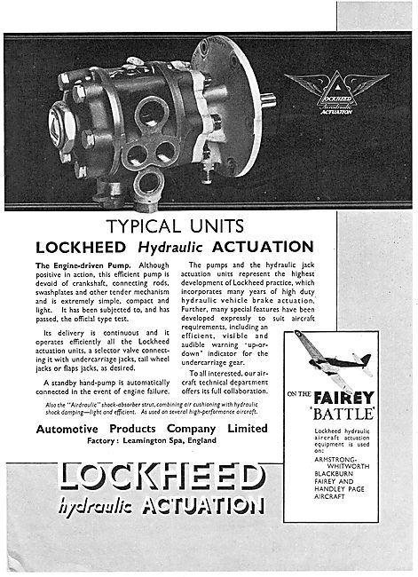 Lockheed Hydraulic Actuation Units For Aircraft