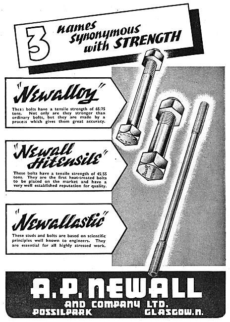 A.P.Newall Nuts & Bolts. Newalloy Newallastic