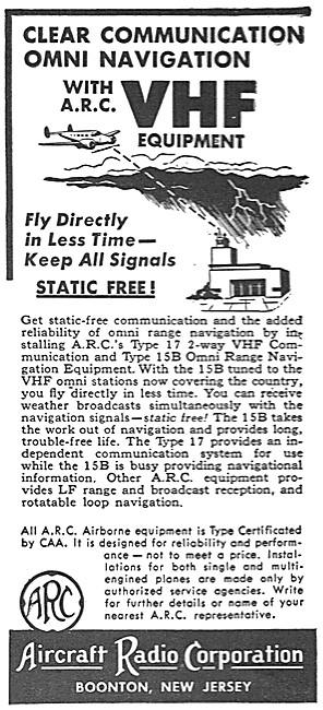 ARC Aircraft Radio Corporation. VHF Nav/Comm. ARC Type 17 VHF