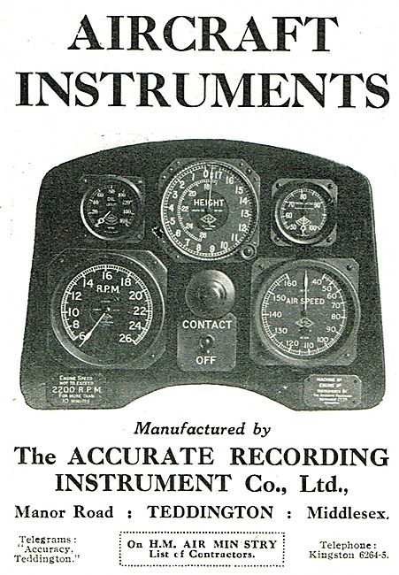 Accurate Recording Co Aircraft Instruments.