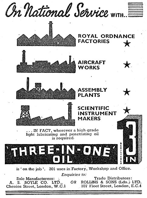 A.S.Boyle. Three-In-One Oil  1943 Advert
