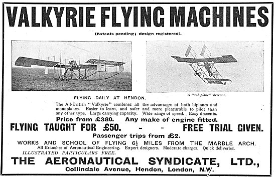 The Valkyrie Flying Machine From Aeronautical Syndicate Ltd. £380