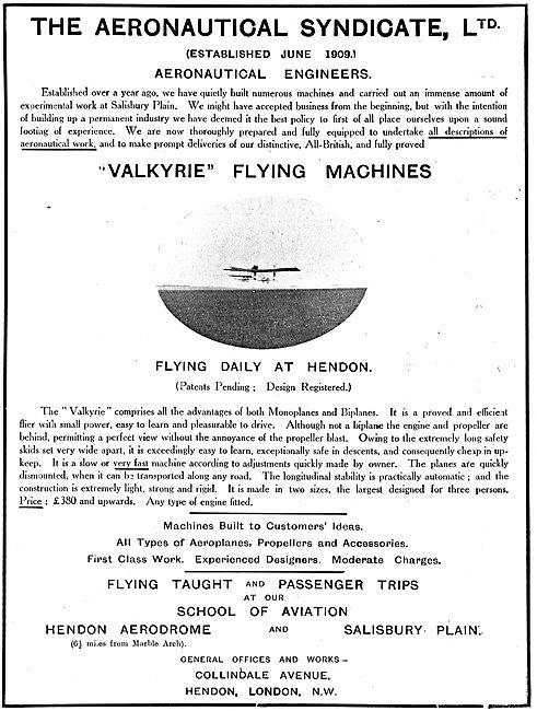 Aeronautical Syndicate Ltd - Aeronautical Engineers. Valkyrie