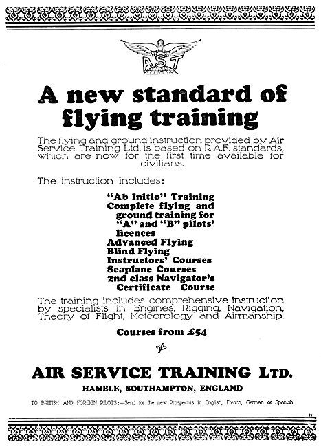 Air Service Training  AST Hamble  Flying Training 1931