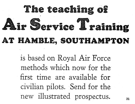 Air Service Training. AST Teaching Is Based On RAF Methods