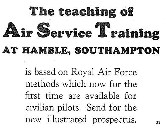 Air Service Training. AST Teaching Is Based On RAF Methods