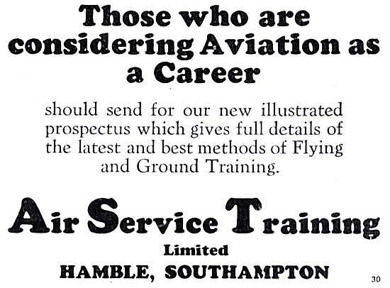 For Those Considering Aviation As A Career Contact AST Hamble