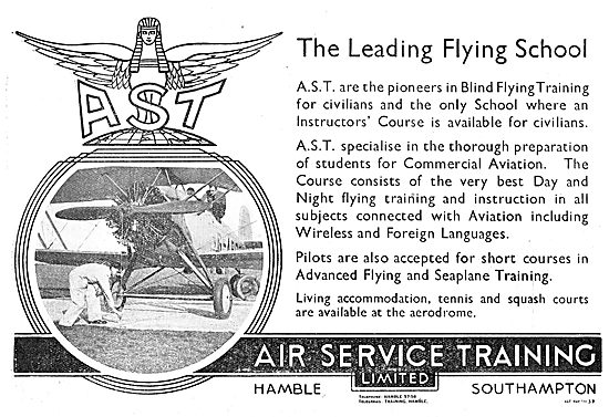 Air Service Training. AST. The Leading Flying School