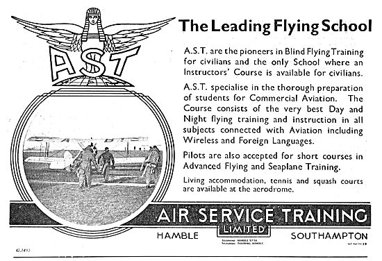 Air Service Training. AST. Pioneers In Blind Flying Training