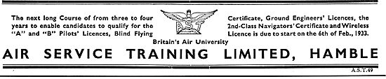 Air Service Training. AST. Training For A & B Licences