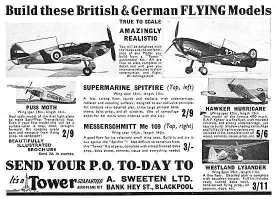 A.Sweeten: Tower Flying Model Aircraft. Spitfire. Me109